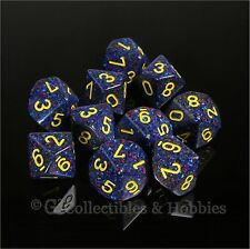 NEW 10 D10 Twilight Blue Speckled w Yellow PRG Game Dice Set in Tube Ten Sided