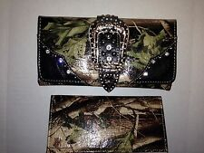 MONTANA WEST SHINY CAMO BUCKLE WALLET WITH RHINESTONES - BLACK ACCENTS