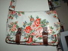 Floral Rose Off White Chic Cross Body Oil Cloth Saddle Satchel School Bag PVC
