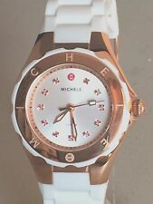 Michele Jelly Bean Petite Gold Tone Topaz White Silicone Watch MWW12P000013