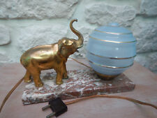 French Art deco elephant table lamp sculpture marble