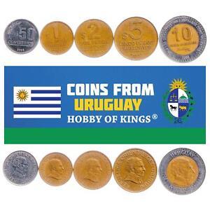 SET OF 5 COINS FROM URUGUAY: 50 CENTESIMOS, 1, 2, 5, 10 PESOS 1994-2008