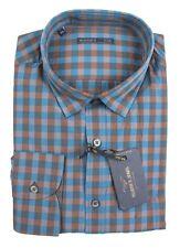 Men's MASONS Italy Brown Blue Plaid Cotton L/S Button-Down Shirt 2XL NWT $195!