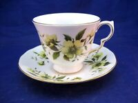 VINTAGE ROYAL VALE TEA CUP AND SAUCER - YELLOW FLOWERS & GREEN LEAVES - ENGLAND