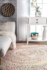 Braided Round Rugs Floor Rug 12x12 Feet Cotton White Base Carpet Indoor