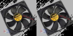 "2pc Square Rotary Quiet 3"" Cooling Fan Slim 12 Volt Marine Automotive Computer"