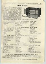 1916 PAPER AD Forestry US Army Camp Camping Range Stove Sheet Steel Box Stove