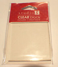 """Clear acrylic Block for cling Rubber Stamps 2.5"""" x 2.5"""" Studio G Clear"""
