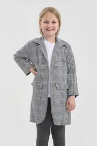 Childrens Dogtooth Duster Coat Hound Tooth Jacket Blazer Coat 7-13 Years