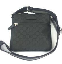 Gucci 449183 GG Black Nylon Canvas Zip Top Small Messenger Bag, NWT
