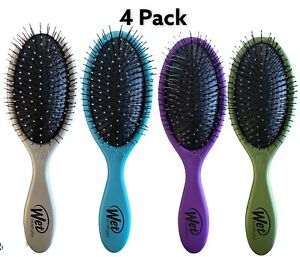 4 Pack Wet Brush Detangler Purple, Teal, Green & Pewter