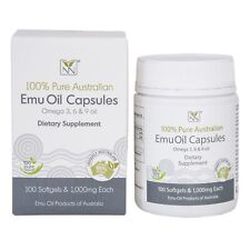 Emu Oil Capsules - (100) 1,000mg Supplement Caps - Contains Omega 3 6 9 Oils