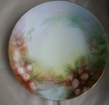 D&C France Handpainted Signed Charger Plate Platter PINECONES
