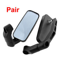 2 Pcs Black Aluminum Rectangle Rearview Blind Spot Blue Mirror for Motorcycle