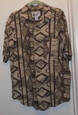 Goouch Beige Silk Blend Geometric Design Hawaiian Shirt - Mens Size M - NWOT