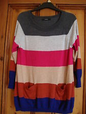 GEORGE.  MULTI STRIPE JUMPER WITH POCKETS. 3/4 SLEEVES. SIZE 10.