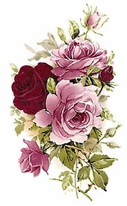 Pink Burgundy Rose Flowers Select-A-Size Waterslide Ceramic Decals Bx