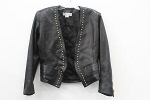 Yves Saint Laurent Rive Gauche Black Leather Gold Studs Open Jacket Size 36