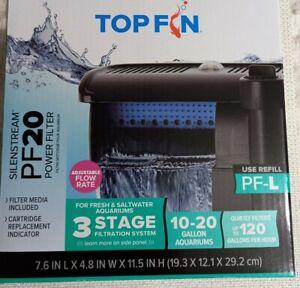 Brand New Top Fin Silenstream PF20 Power Filter 10-20 Gallon Aquariums 120 GPH