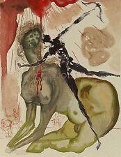 """Salvador Dali Woodcut """" Hell 12 - The Minotaur """" Divine Comedy"""