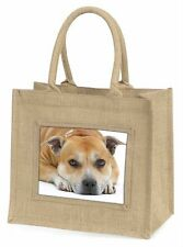 Red Staffordshire Bull Terrier Dog Large Natural Jute Shopping Bag C, AD-SBT3BLN