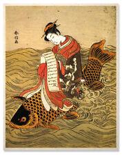 Asian Ukiyoe Art Print Kinko Riding A Koi Fish
