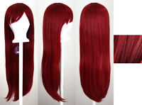 32'' Long Straight Long Bangs Crimson Red Cosplay Wig NEW