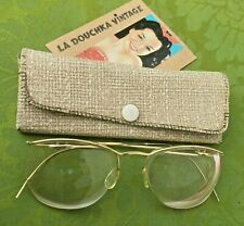 French Amor 1940s Woman Vintage Rimless Eyeglasses~ Gold Plated~Made In France~M