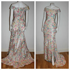 NOS Vtg MURRAY ARBEID Silk Floral PRINCESS WEDDING Gown Dress UK Diana NEW Tag S