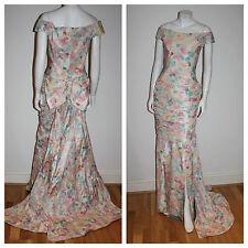 NOS Vtg MURRAY ARBEID Silk Floral PRINCESS WEDDING Gown Dress UK Diana NEW Tag S