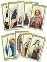 Womens Catholic Gift Assorted Female Patron Saint Therese Rita Marian Holy Cards