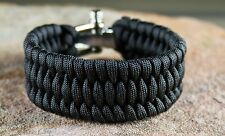 550 Premium Black Paracord Survival Bracelet Adjustable D Shackle US Seller