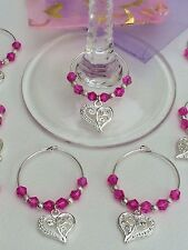 20 Hot Pink Crystal Wedding Wine Glass Charms. Favours, Party, Gift