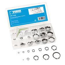 Assortimento kit 100 anelli elastici seeger FERVI 0179 in oraganizer di plastica