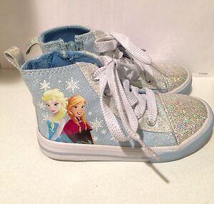 Disney Frozen Elsa Ann Toddler Girls Canvas Sparkle Glitter Silver Blue, Size 9