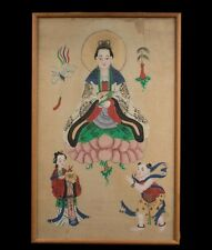 Korea / China 19. Jh. Gouche -A Korean or Chinese Wall Hanging 'Guanyin' Coreano