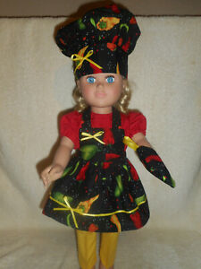 18 doll clothes fits American Girl - Chef, pants, blouse, apron, hat, oven mitt