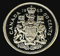 1963 Uncirculated 50¢ Canada Half Dollar .800 Silver • Proof Like