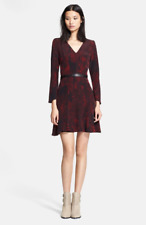 The Kooples Size Small XS Belted Silk Dress Red Python Snake Print Fit Flare