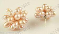 Cute Lady's Women PALE LILAC Rice Freshwater Pearl Flower Silver Stud Earrings