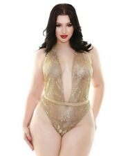 1e949669489 Champagne Wishes Ribbon Halter Teddy Gold 1X-2X