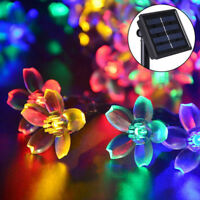 50 Led Solar Blossom Flower Fairy String Lights Lamp Outdoor Garden Wedding