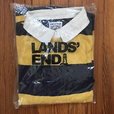 Lands End Blue And Yellow Striped Rugby Polo Shirt Size XLT New