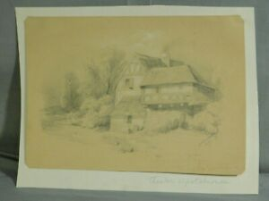 Antique Old master Drawing French Provincial Theodore Country Barbizon Landscape
