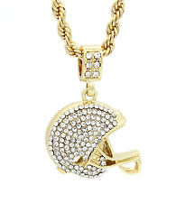 Mens 14k Yellow Gold Plated 24in Football Helmet 4 mm Rope Chain Necklace