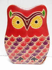 Leather Owl  Piggy Coin Bank India  Red  Multi Color
