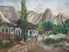 Antique oil painting mountain landscape