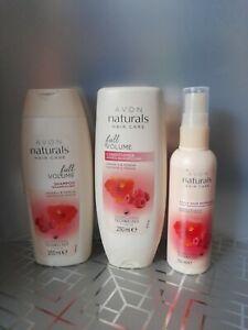 Avon Naturals Raspberry & Hibiscus haircare set Shampoo Conditioner Refresher .