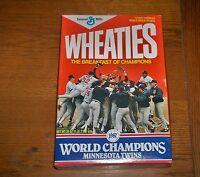 1987 MINNESOTA TWINS WORLD SERIES CHAMPIONS ORIGINAL WHEATIES BOX Empty & Sealed