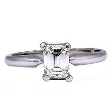 Corte Esmeralda Anillo Solitario Diamante De Compromiso Platino .71 ct H Vvs2